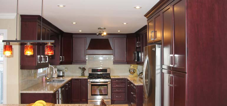 Red Cherry Solid Wood Custom Kitchen