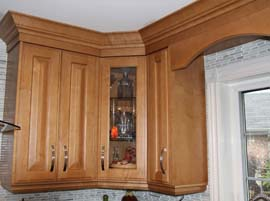 Corner cabinets with glass doors
