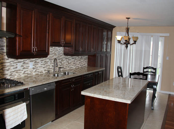 Solid wood kitchen cabinets custom kitchen renovation in for Chocolate pear kitchen cabinets