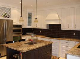 Custom kitchen with free standing access island