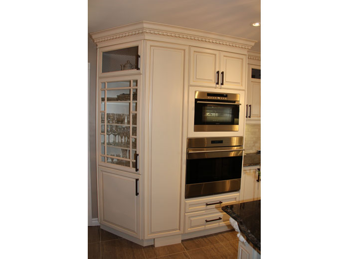 Mission Style cabinets wtih mullion and mesh wire doors
