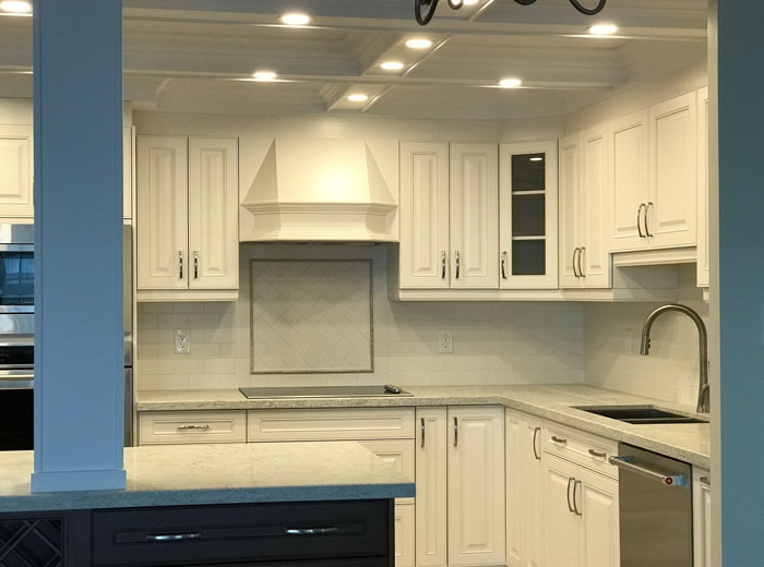 Solid Wood Kitchen With White Custom Kitchen Cabinets