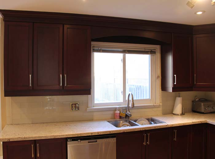 Red cherry custom kitchen cabinets