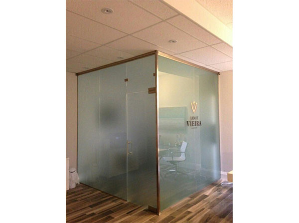 Frosted glass office with printed logo