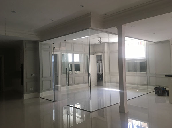Glass enclosed room