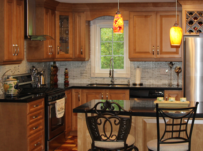Custom kitchen cabinets made with solid wood maple