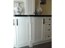Decorative post of custom cabinets