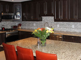 Custom kitchen cabinets with granite countertop