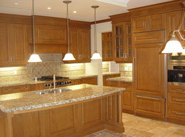 Custom kitchen cabinets with solid raised maple
