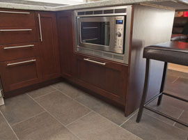 Built-in microwave in kitchen island