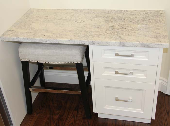 Side table with ivory granite counter