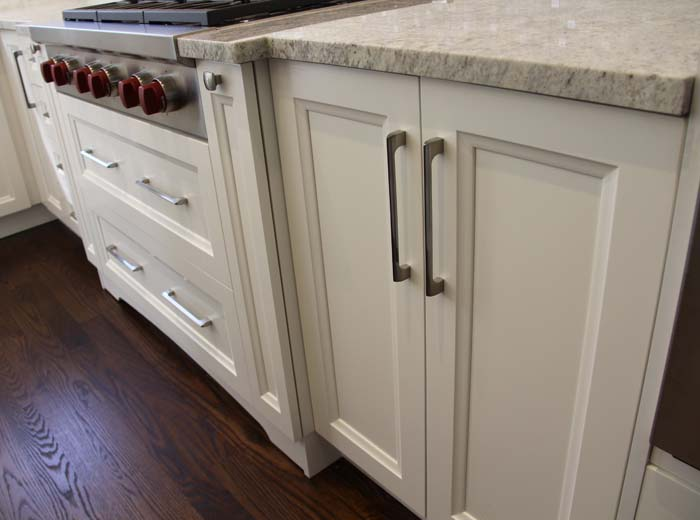 Solid wood white custom kitchen cabinets