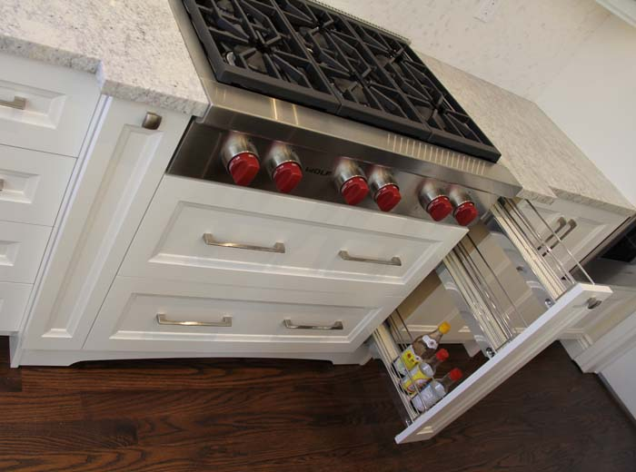 Custom cabinets with spice rack